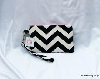 Navy Chevron Wristlet with Pink zipper