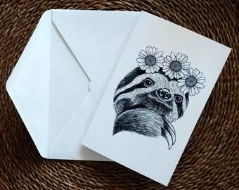 Daisy Sloth Folding Card
