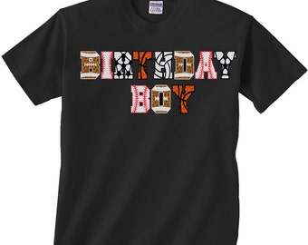 Birthday Boy Shirt (2T, 3T, 4T) with Football, Baseball, Basketball and Soccer letters, great for sports themed birthday parties for any age