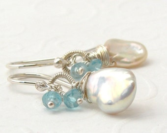 White pearl earrings with turquoise apatite, Keishi beaded earrings, 925 sterling silver, pearl with gemstone, made to order