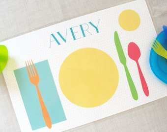 Learn to Set the Table Placemat | Personalized Childrens Placemat | Kids Placemat | Learning Placemat | Gift for Kids | Preschool Children