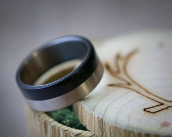 """The """"Tanner"""" - Men's Wedding Band with Ebony Wood and Titanium - Staghead Designs"""