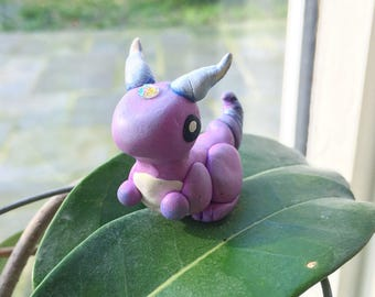 POLYMER CLAY MYTHICAL - Cute kawaii handmade mythical lizard figurine, totem - One of a Kind