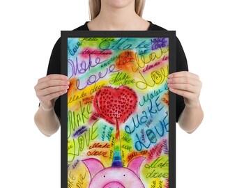 rainbow love poster framed - love print - make love large print - unicorn pig print - cute unicorn rainbow print