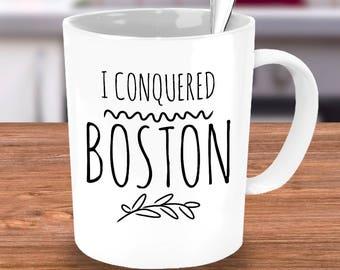 Boston Marathon Finisher Mug - I Conquered Boston - Boston Marathon Runner Gift - Black or White 11 or 15 oz Ceramic Coffee Tea Cup
