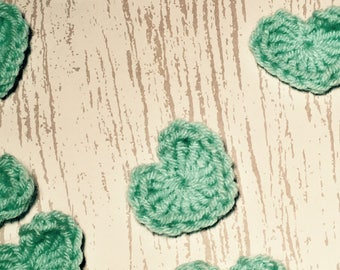 10 Crochet Hearts Turquoise