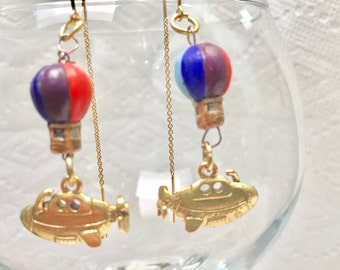 Steampunk Vintage Yellow Submarine Earrings