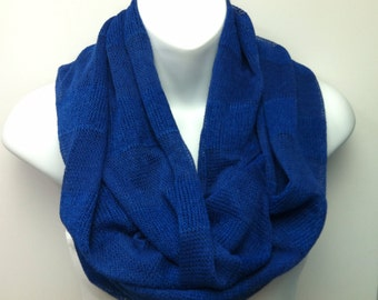 Royal blue striped sweater knit infinity scarf