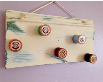 Shabby Chic Coat hanger. Sylko cotton reels. Handmade. Apron Bag hanger. Picture 3 only to show one in use.