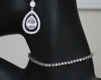 Minimalist Bezel Cubic Zirconia Tennis Bracelet Necklace Pear Drop Earrings Glam Chic Cocktail Jewelry Best Bridal Jewelry Set