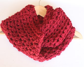 Red Infinity Scarf, Crochet Red Infinity Scarf, Chunky Red Scarf, Red Loop Scarf