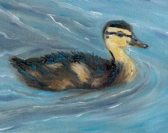 Duckling Original ACEO Wildlife Oil Painting Bird