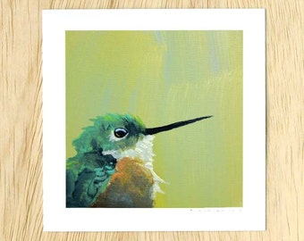 Hummingbird Number 1 5 x 5 Art Print - Bird - Animal - Nature - Giclee - Mincing Mockingbird