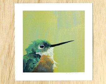 Hummingbird Number 1 5 x 5 Art Print - Bird - Animal - Nature - Giclee - Mincing Mockingbird