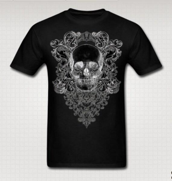 Ornate Skull Black Tee shirt