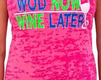 SoRock Women's Wod Now Wine Later Burnout Tank Top