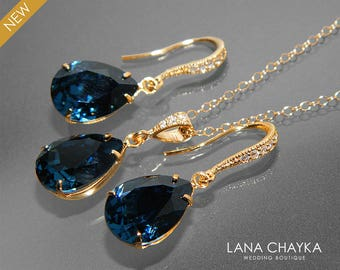 Navy Blue Gold Jewelry Set, Dark Blue Earrings&Necklace Bridal Set, Swarovski Montana Blue Jewelry Set, Bridesmaid Jewelry, Prom Jewelry Set