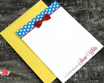 Snow White Personalized Stationery · A2 FLAT · Royal Blue Red and Yellow · Coordinating Thank You Notes for Snow White Invitations