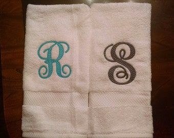 Two Hand Towels Personalized with Chevron Font