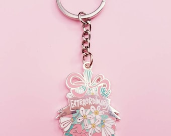 You are EXTRAORDINARY keychain SILVER