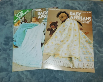 1970s Leisure Arts Baby Afghan Pattern Leaflets 101 and 64 Knit and Crochet