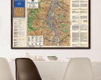 """Map of Budapest 1938 Vintage Budapest map in 4 sizes up to 54x36"""" (140x90 cm) Large old map of Budapest, Hungary - Limited Edition of 100"""