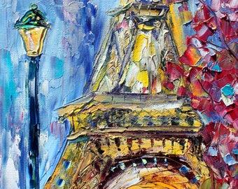 Paris Spring painting original oil abstract Eiffel Tower impressionism fine art impasto canvas by Karen Tarlton