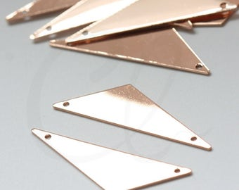 One Piece Premium Rose Gold Plated Brass Base Triangle Link - 40x12mm (1992C)