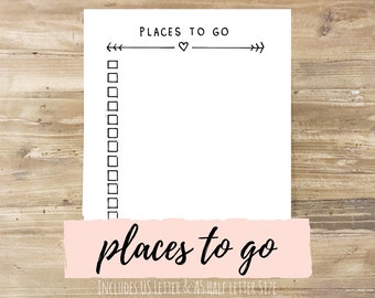 Places to Go: Bullet Journal Printable