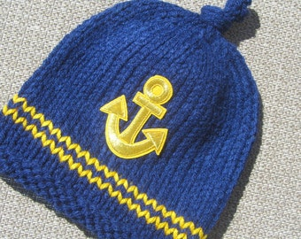 Baby Hat, Sailor Hand Knit Baby Hat, Anchor Knitted Baby Hat, Blue and Gold Knit Baby Hat