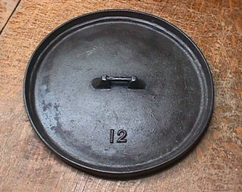 Vintage # 12 Cast Iron Dutch Oven Lid by Martin Stove & Range Cleaned-Seasoned, and Ready to Use