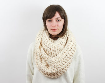 Giant Chunky Knit Infinity Scarf, Wool Blend| THE ANCHORAGE in Snow
