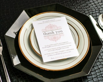 """Reception Thank You Cards, Wedding Signage, Table Setting Card, Coral and Gold - """"European Scroll"""" Reception Thank You Sign 5 x 7 - DEPOSIT"""