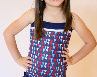 Navy & Red Triangle One-Piece - Girls