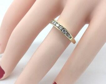 Round Brilliant Cut Diamond Wedding Anniversary Band Ring 14K Yellow Gold 1/2 CT