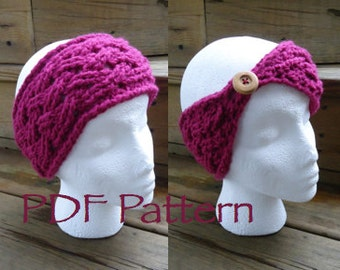 CROCHET PATTERN - The Celtic Weave Warmer - Headband - With Button - (PDF File)