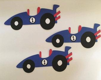 Race Car Die Cut set of 3, Boy toy die cuts, Racing die cuts, Race Car birthday