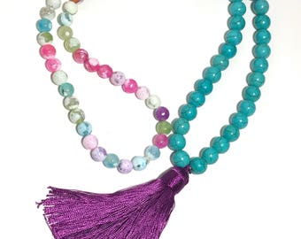 Turquoise & Bubble Gum Beaded Necklace with Purple Tassel