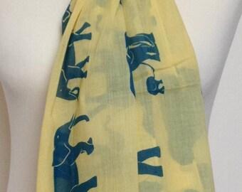 Elephant scarf - yellow blue scarf - spring summer scarf - elephant wrap shawl - womens scarf in 100% cotton