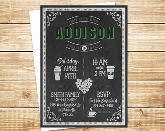 PRINTED Frappe Birthday 5x7 Chalkboard Coffee Shop Invitation with envelope in chalk, white, and green with coffee beans and cups