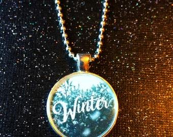 Winter Necklace / Snowy Winter Scene Jewelry / Snowy Trees Let it snow / I love Winter / Cozy Winter / Statement Necklace Novelty Jewelry