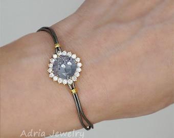 Light Purple Swarovski crystal bracelet, Boho Bracelet, Bridesmaids gift, Leather Bracelet, Rhinestone bracelet, Bridesmaid bracelet