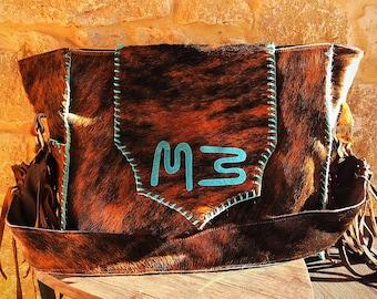 custom cowhide livestock brand diaper bag or large purse