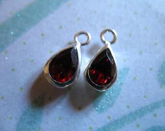 Shop Sale.. 1 2 5 10 pc, Gemstone Connectors Links Pendant, Bezel Charm, 11x5.5 mm, Garnet Tear Drop January birthstone charms drops gcp3