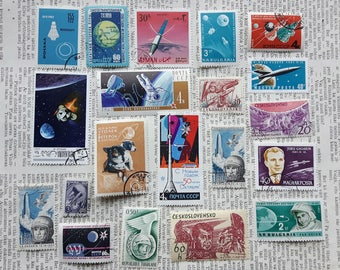 Lot of 20 pcs Mix Space Postage Stamps,Gagarin,USSR Post Stamp,Appollo 11