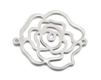 Silver 1 x Rose flower metal 32mm filigree connector