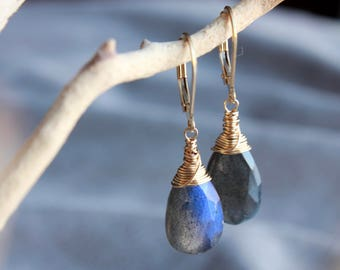 Labradorite Earrings, Gold filled wire wrap, natural gemstone, blue flashes, minimalist artisan earrings, gift idea, 4520
