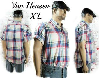 men's plaid shirt - short sleeve shirt, men's  button down shirt , retro plaid shirt - Men's summer shirt , plaid shirt - size X L  # 29