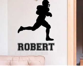 Personalized Name Wall Decor - Boys Bedroom Football Custom Name Wall Decal - Football Player Silhouette with Custom Personalized Name