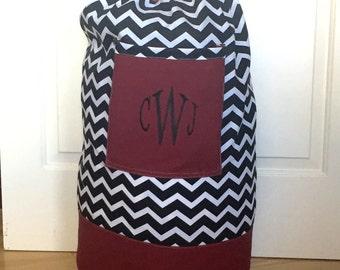 Monogrammed Laundry Duffel Bag, Burgundy, Black & White Chevron, Laundry Bag, Laundry Bag for College, Hanging Laundry Bag, Laundry Hamper